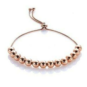 .925 Rose Gold Over 5mm Bead Bolo Slider Bracelet